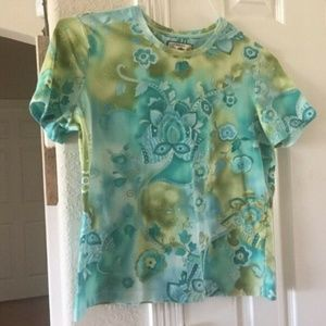 Caribbean Joe floral short sleeve top L